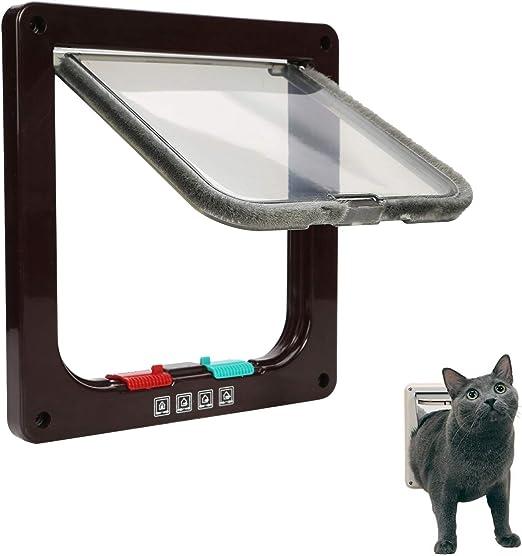 Ducomi - Gatera para Gatos y Perros de Pared - Puerta basculante con 4 vías Entrada y Salida