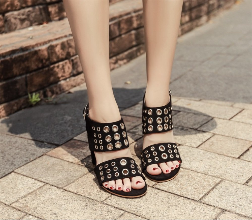 TMKOO Weibliche Modelle High Heels 2018 Sommer Neue Sandalen Schuhe Casual Schuhe Mode Arbeit Schuhe Sandalen Sexy Party Schuhe (Farbe : Schwarz, Größe : Us8/eu39/uk6/cn39) Schwarz 087bd2