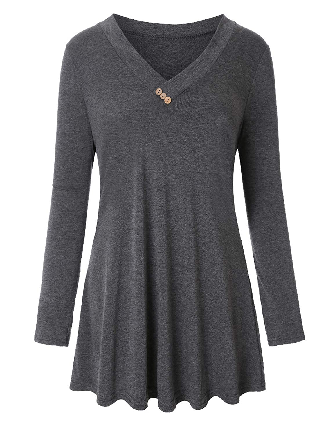 9e160182052 Material:35% Cotton,60% Polyester,5% Spandex. Soft and comfortable fabric  with stretch. ????Design: 2018 Fashion Tunic Tops/ V Neck Blouses/Button ...