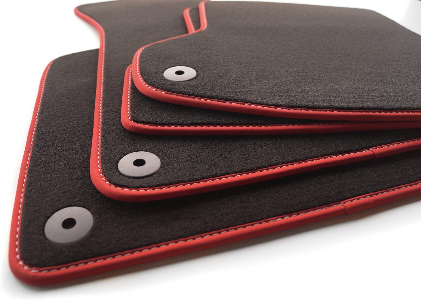 Fußmatten Velours Roter Rand Mit Weißer Sports Tuning Naht Automatten Set Inkl Befestigungssystem Auto