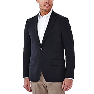 Haggar Men's Travel Stretch Slim Fit 2-Button Side Vent Solid Blazer at Men's Clothing store