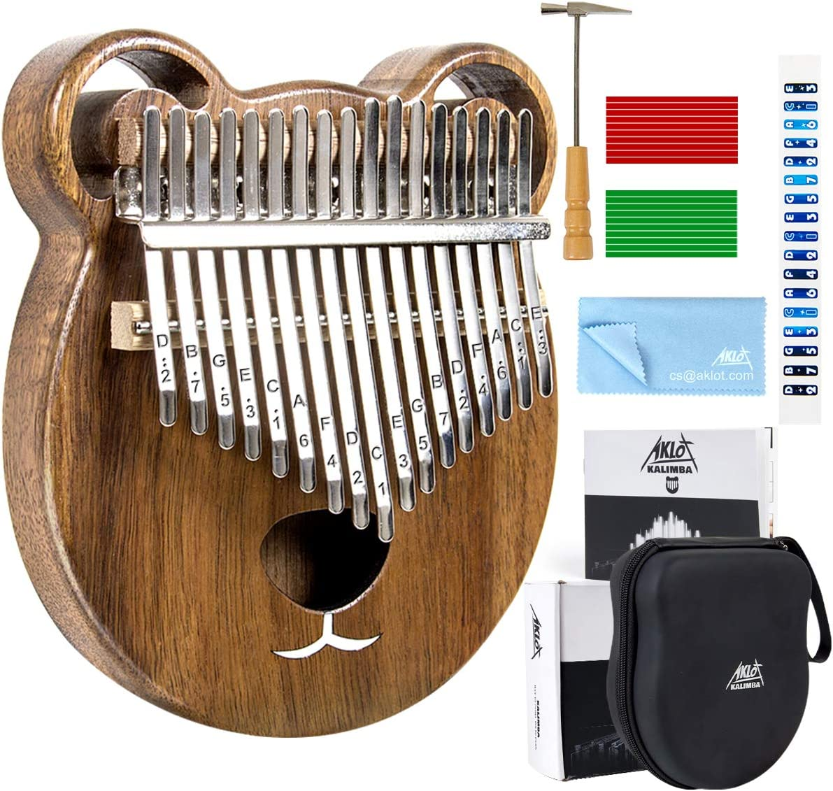 AKLOT Kalimba 17 Keys Thumb Piano Solid Wood Finger Piano Start Kits