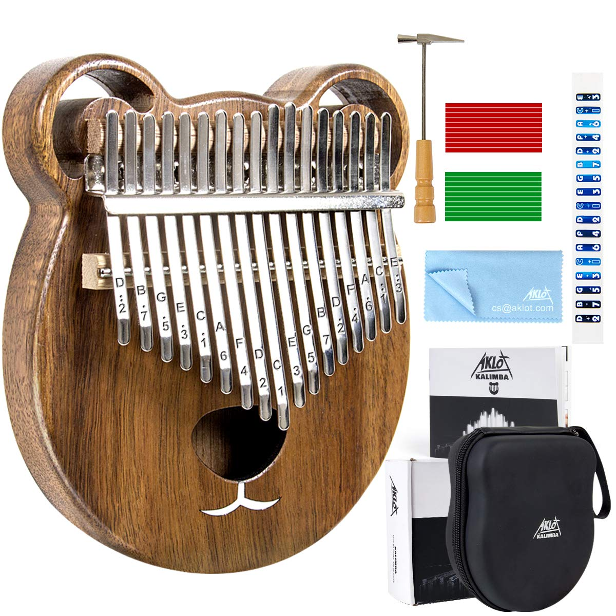 Kalimba 17 Keys Thumb Piano Solid Wood Finger Piano Start Kits African Instrument with Protective Case Tuning Hammer Study Booklet Cleaning Cloth From AKLOT by AKLOT