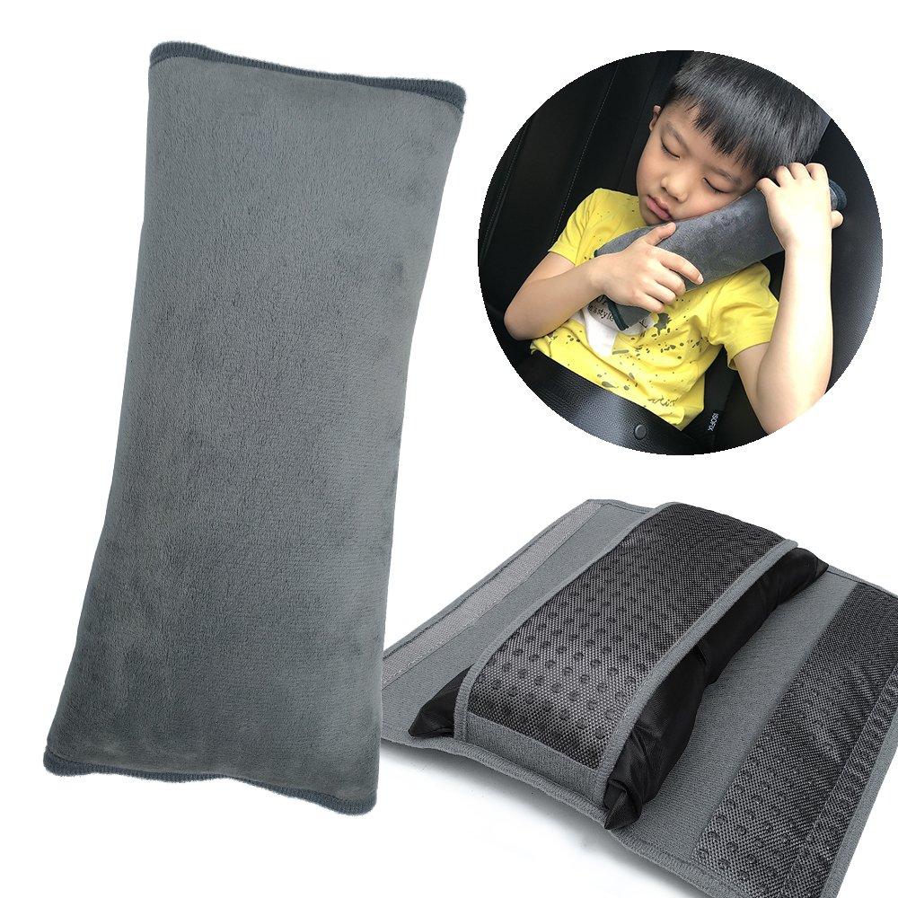 TUPSKY Kids Seatbelt Pillow, Universal Car Safety Belt Shoulder Pad Neck Protector Plush Vehicle Non-slip Seat Belt Cover for Child, Adult (Grey, 1 Pack)