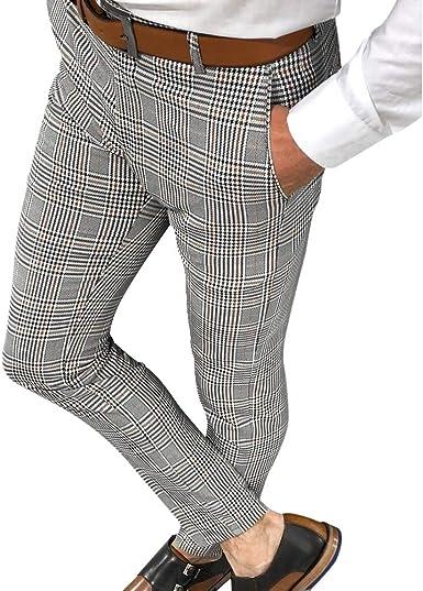 Shujin Pantalones Chinos Para Hombre De Negocios Pantalones De Tela A Cuadros Pierna Recta Pantalones Informales Elasticos Ajustados Y Ajustados Amazon Es Ropa Y Accesorios