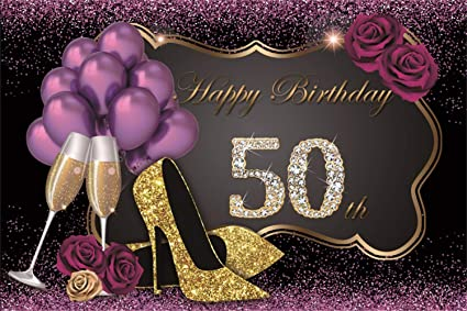 LFEEY 5x3ft Happy 50th Birthday Backdrop Bling Gold And Purple Photography Backdrops Balloons Heels Champagne