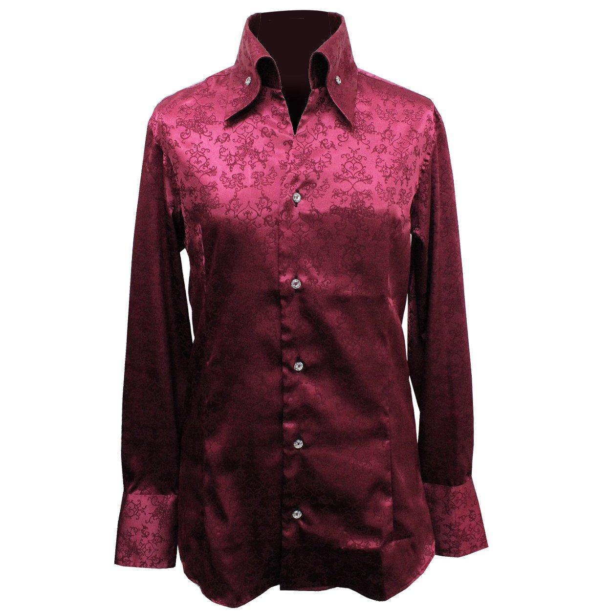 【Deorart ディオラート】バタフライ ゴシックジャガードシャツ BY7039 B0784G4Q4M S|ワイン ワイン S