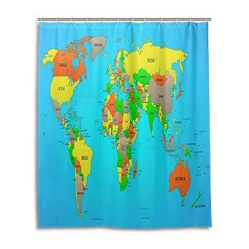 Amazon zoeo world map bath shower curtain 60x72 inch colorful zoeo world map bath shower curtain 60x72 inch colorful clear world map waterproof polyester fabric bathroom gumiabroncs Choice Image