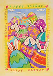 Toland Home Garden Peek a Boo Bunny 28 x 40 Inch Decorative Happy Easter Painted Egg Rabbit House Flag