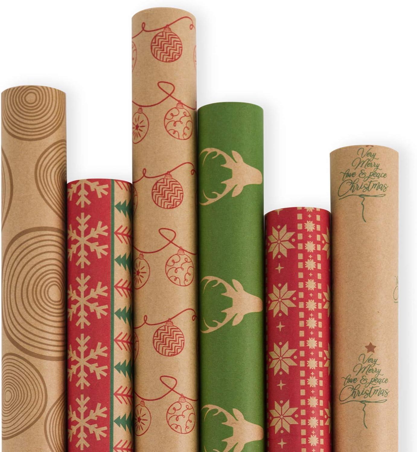 Ruspepa Noël Papier Cadeau Feuille-Marron Papier Kraft avec noir Noël