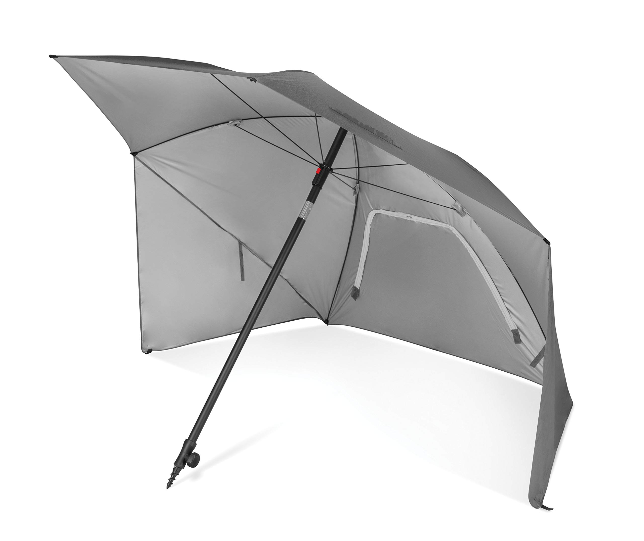 Sport-Brella Ultra SPF 50+ Angled Shade Canopy Umbrella for Optimum Sight Lines at Sports Events (8-Foot), Light Grey by Sport-Brella