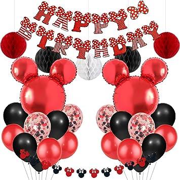Jollyboom Artículos para Fiestas temáticas de Mickey y Minnie Globos de Guirnalda de Minnie Rojo y Negro Banner de Feliz cumpleaños para Baby Shower ...
