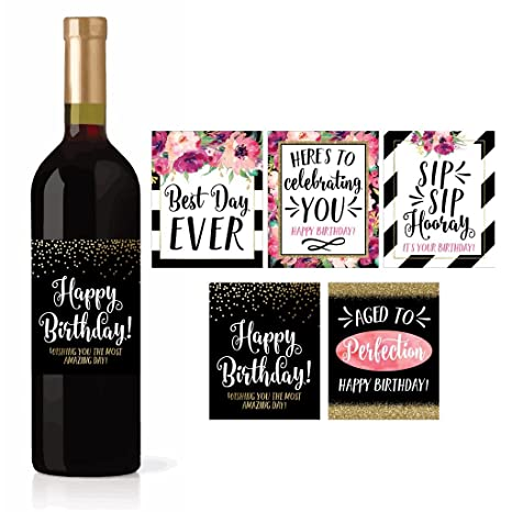 Amazon.com: 5 etiquetas para botellas de vino de cumpleaños ...