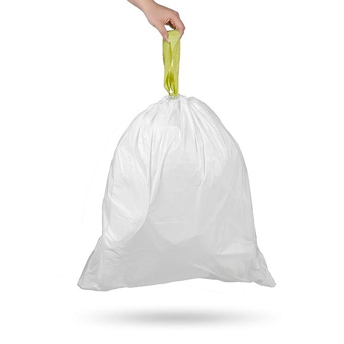 Amazon.com: Ninestars NSTB-6-30 Extra Strong White Trash Bag w/Drawstring Closure 6 Gallons / 20 L: Home & Kitchen