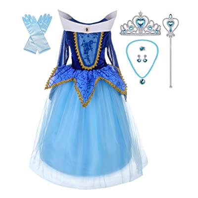 Lito Angels Girls Princess Dress Up Costume Halloween Christmas Fancy Dress with Accessories: Clothing