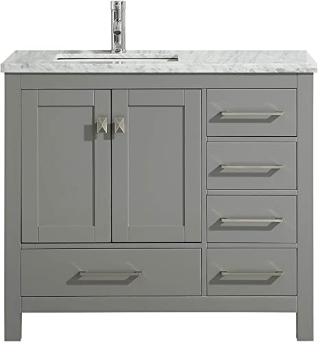 eviva TVN414-36X18GR London 36 x 18 inch Gray Transitional White Carrara Marble Countertop and Undermount Porcelain Sink Bathroom Vanitie