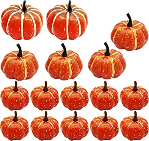 Fottaqqan 16pcs Lifelike and Realistic Artificial Fall Harvest Mini Pumpkins,Artificial Pumpkins Table Decor for Halloween Thanksgiving Autumn Party Garden Kitchen Furniture