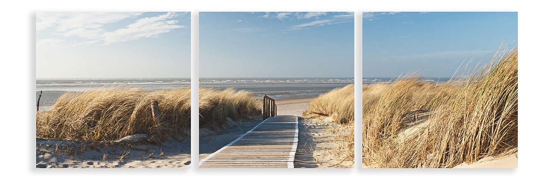Artland Qualitätsbilder I Glasbilder Deko Glas Bilder 150x50 cm mehrteilig Landschaften Strand Foto Creme D8PV Nordseestrand auf Langeoog - Steg