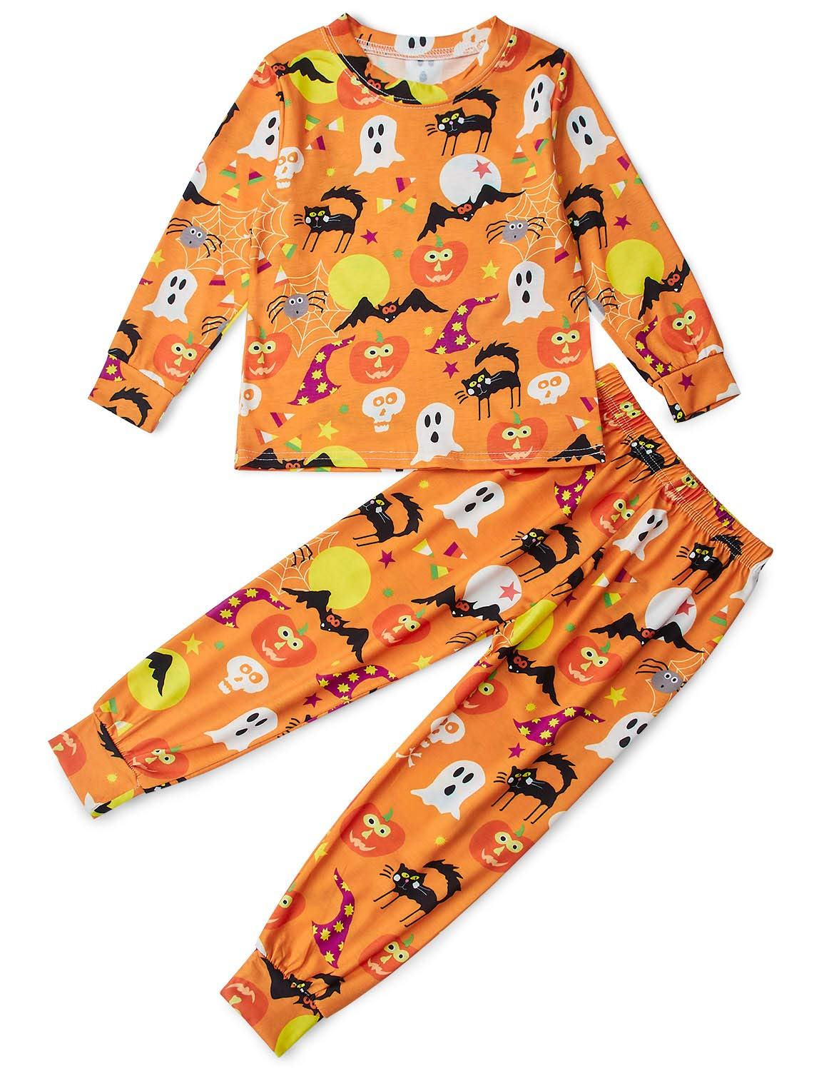 Funnycokid Halloween Party Pajamas for Boys Long Sleeve Sleepwear for Kids 2 Piece PJS Sets