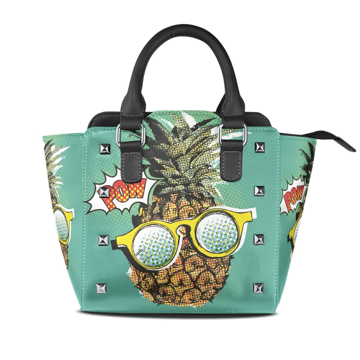 Ladies Genuine Leather Tote Bags Cool Pineapple Womens Hangbags Shoulder Bags