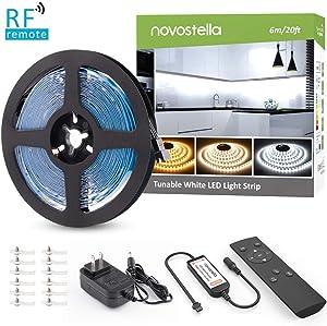 Novostella 20ft Tunable White LED Strip Light kit, Dimmable 3000K-6000K 720 LEDs, 12V LED Tape with RF Remote, LED Ribbon for Home Lighting Kitchen Bar, UL Listed Power Supply, Daylight Warm White