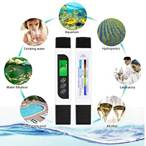 KINCREA Water Quality Tester, Accurate and Reliable 0-9990ppm, EC Meter & Temperature Meter 3 in 1TDS Meter JR021
