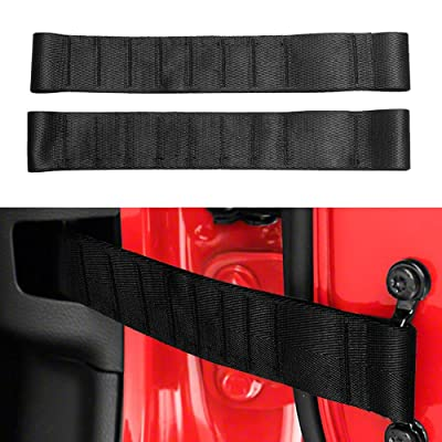 VOFONO Updated Heavy Duty Strong Adjustable Door Limiting Check Strap for Jeep Wrangler TJ JK JL Load 1000 Lb (2PCS-Black): Automotive
