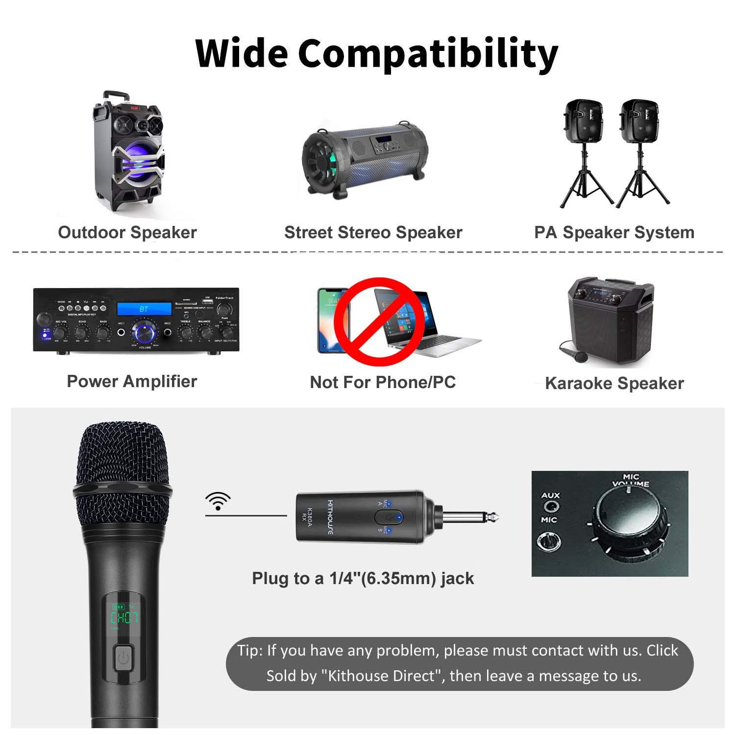 Kithouse K380A Wireless Microphone Karaoke Bluetooth Microphone Wireless  With Rechargeable Receiver System - UHF Dual Handheld Dynamic Mic Set For