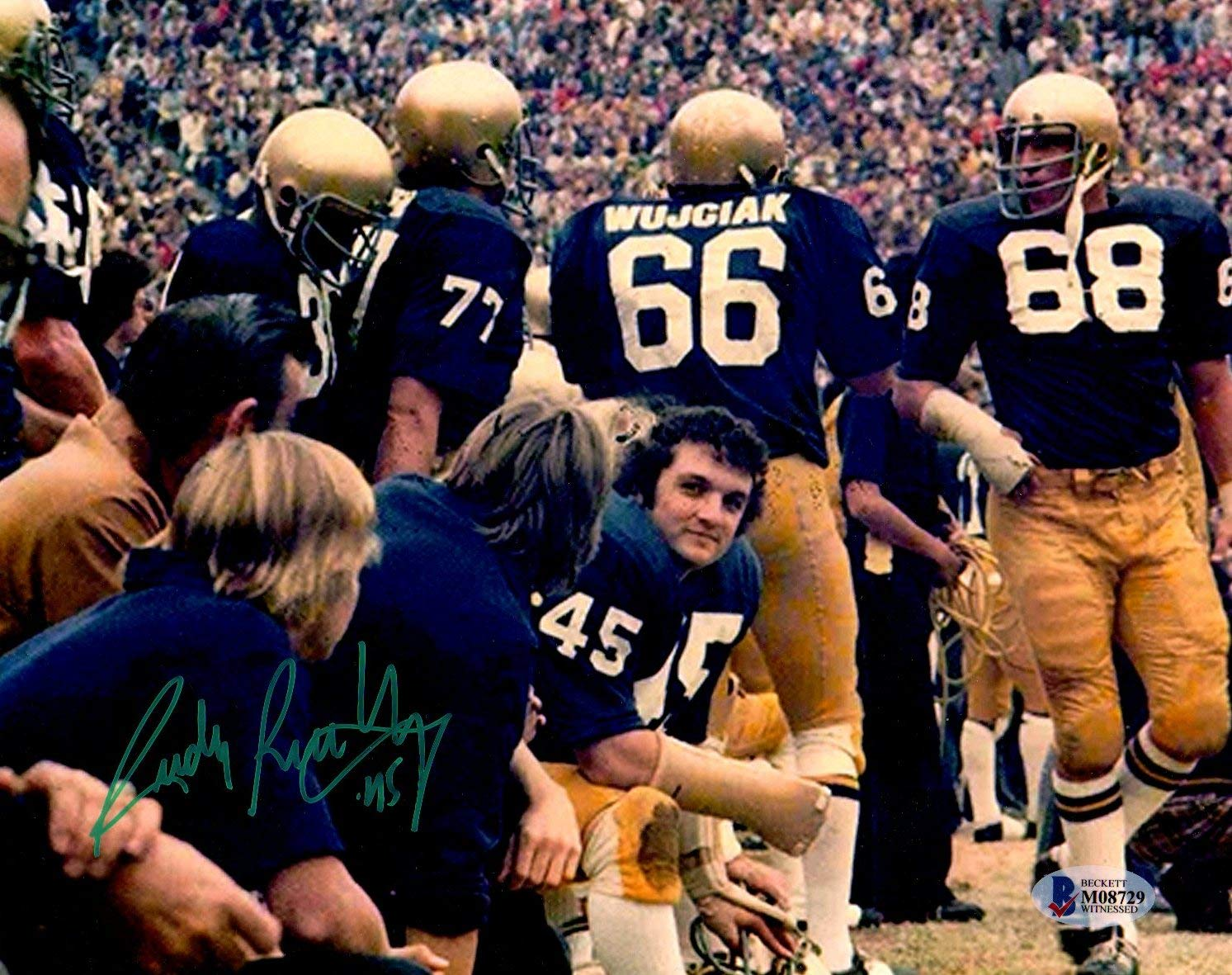 Beckett BAS Rudy Ruettiger Autographed Signed Notre Dame 8x10 Photo on Bench