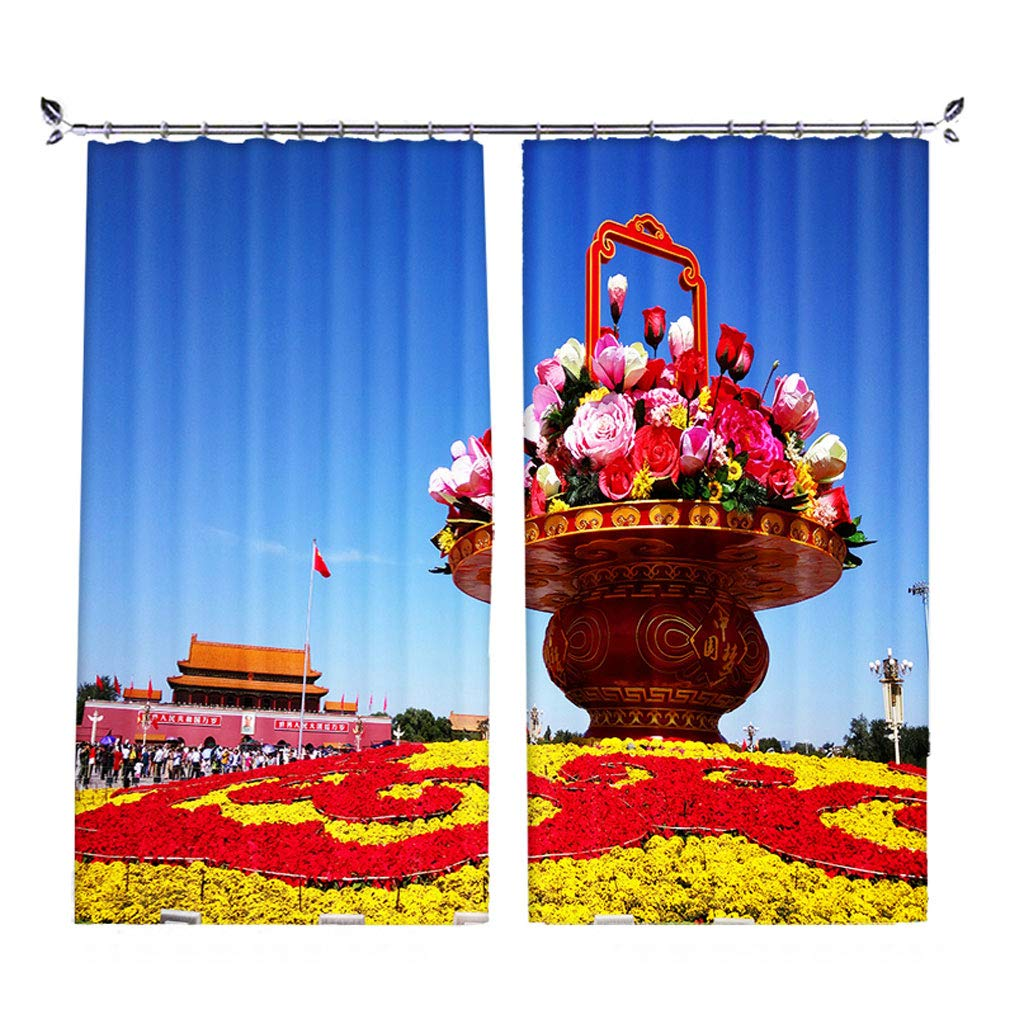 ZZHL Curtains Curtains,Hooks Rings Blackout Set Thermal Insulated Window Bedroom Living Room Kitchen 2 Panels Flower A2 (Size : 1x2.13m)