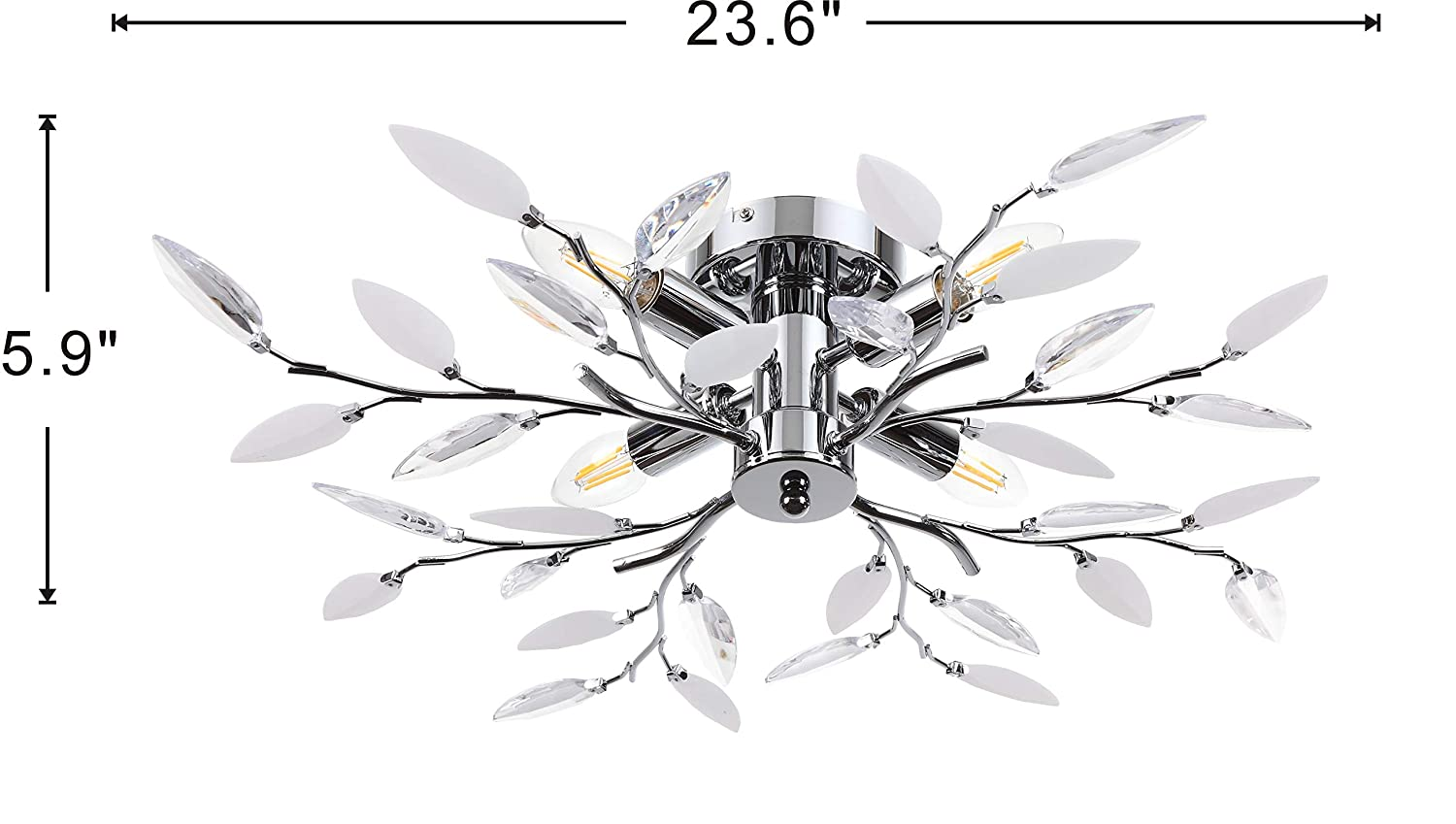 by Sannice SN-CF015CL Ceiling Light with Acrylic Crystal Leaves and 4 Lights Decorative Chrome Finished Light Fixture Indoor Ceiling Flush Mount