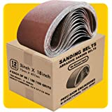3x18 3 x 18 Inch Sanding Belt Pack 3-Inch x 18-Inch,12 Pcs(4 Each of 80 120 150 Grits) Aluminum Oxide for Sander