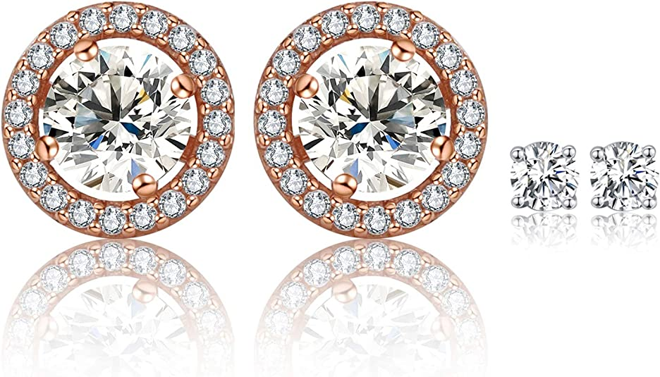SUPRAONE Halo Stud Earrings 18K White Gold Plated Cubic Zirconia Simulated Diamond Earrings Hypoallergenic for Women Men Sensitive Ears
