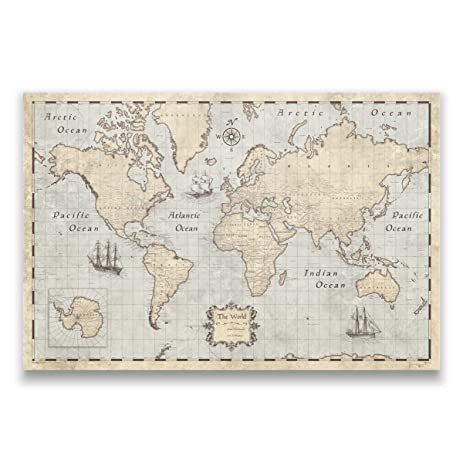 Amazon world map with pins by conquest maps rustic vintage world map with pins by conquest maps rustic vintage style push pin travel map cork sciox Image collections