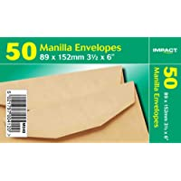 Impact 89 x 152mm Manilla Gummed Envelopes (Pack of 50) (UK Size: One Size) (Manilla)