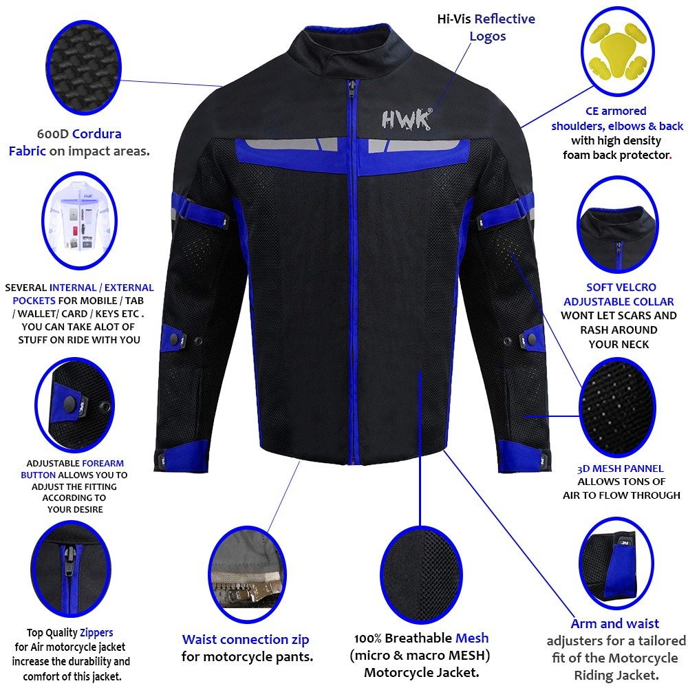HWK Mesh Motorcycle Jacket Riding Air Motorbike Jacket Biker CE Armored Breathable (Small, Blue) by HHR (Image #3)