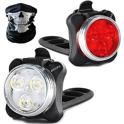 Luces de bicicleta recargables LED Set, Luces LED de bicicleta USB impermeable con batería recargable 650mAh ...