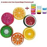 Sungpunet 6PC Crystal Fruit Clay Rubber Mud Intelligent Hand Gum Plasticine Slime Kid Toys