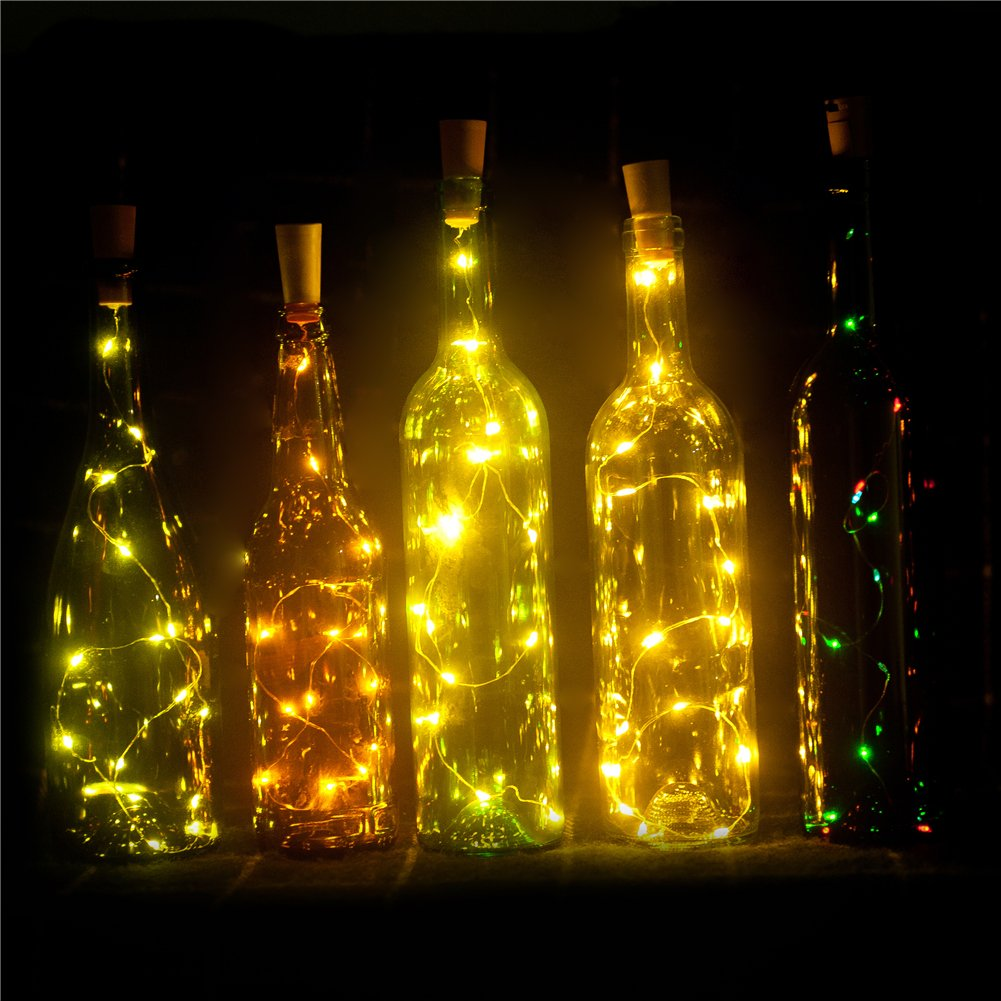 Set Of 6 Wine Bottle Lights Battery Powered Led Cork Shaped Starry