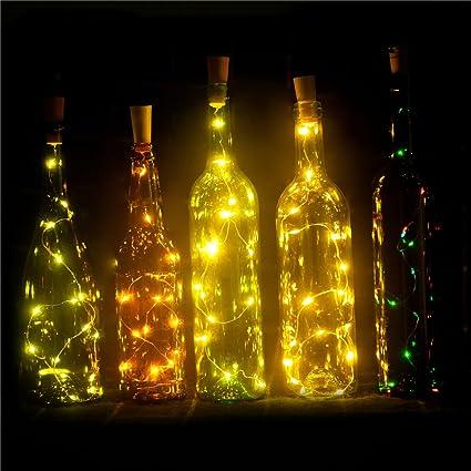 Set of 6 Wine Bottle Lights Battery Powered, LED Cork Shaped Starry ...