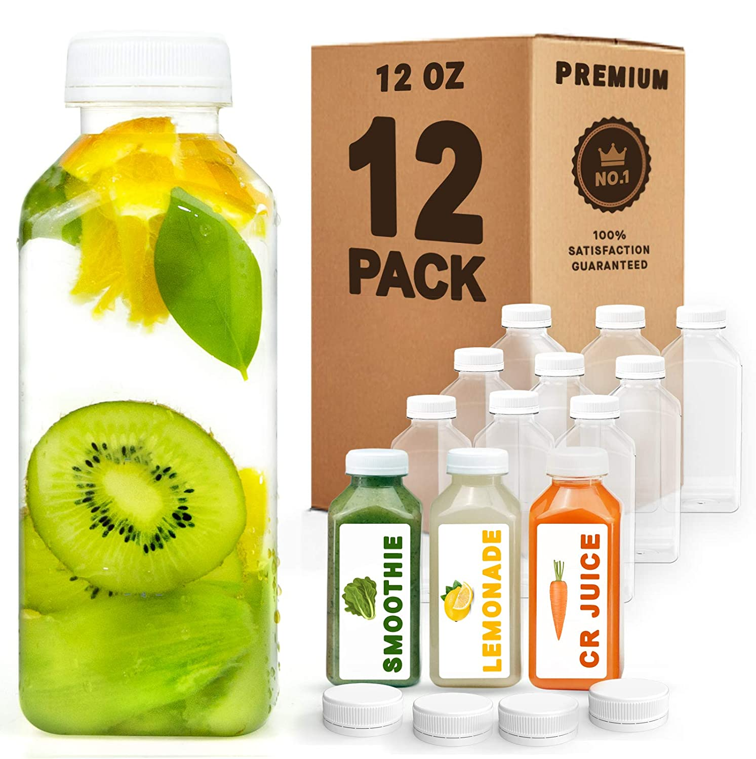 Norcalway 12 oz Plastic Juice Bottles with Caps Lids - Smoothie Bottles, Drink Juice Containers with Lids, Reusable Juice Bottles for Juicing, 12 Pack