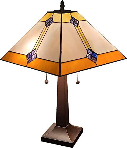 Amora Lighting Tiffany Style Table Lamp Banker Mission 23 Tall Stained Glass White Tan Brown Antique Vintage Light Decor Nightstand Bedside Living Room Bedroom Handmade Gift AM098TL13B, Multicolor
