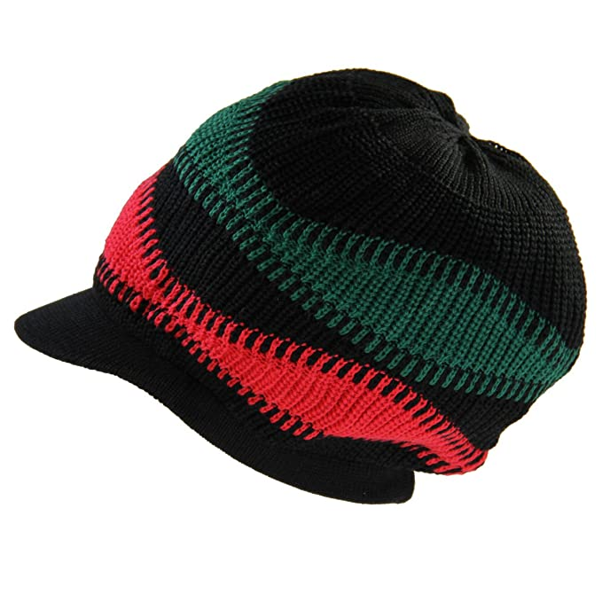 a169dca8343 RW81 Knitted Cotton Rasta Slouchy Beanie Visor (Black RBG) at Amazon Men s  Clothing store