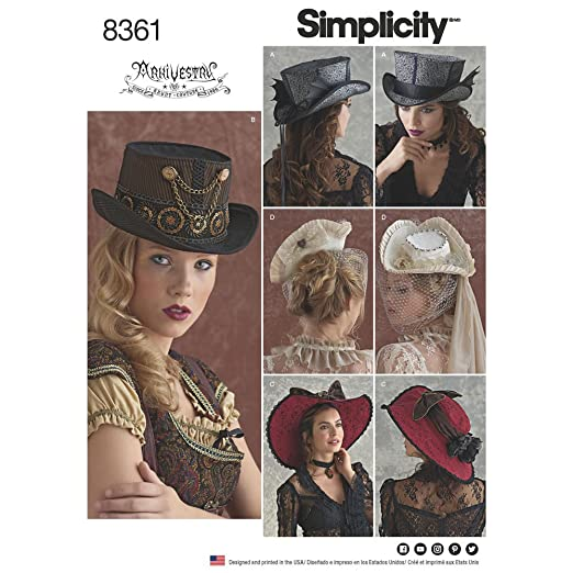 Steampunk Sewing Patterns- Dresses, Coats, Plus Sizes, Men's Patterns Simplicity Pattern 8361 Four Hats in Three Sizes by Arkivestry Size S-M-L $12.22 AT vintagedancer.com