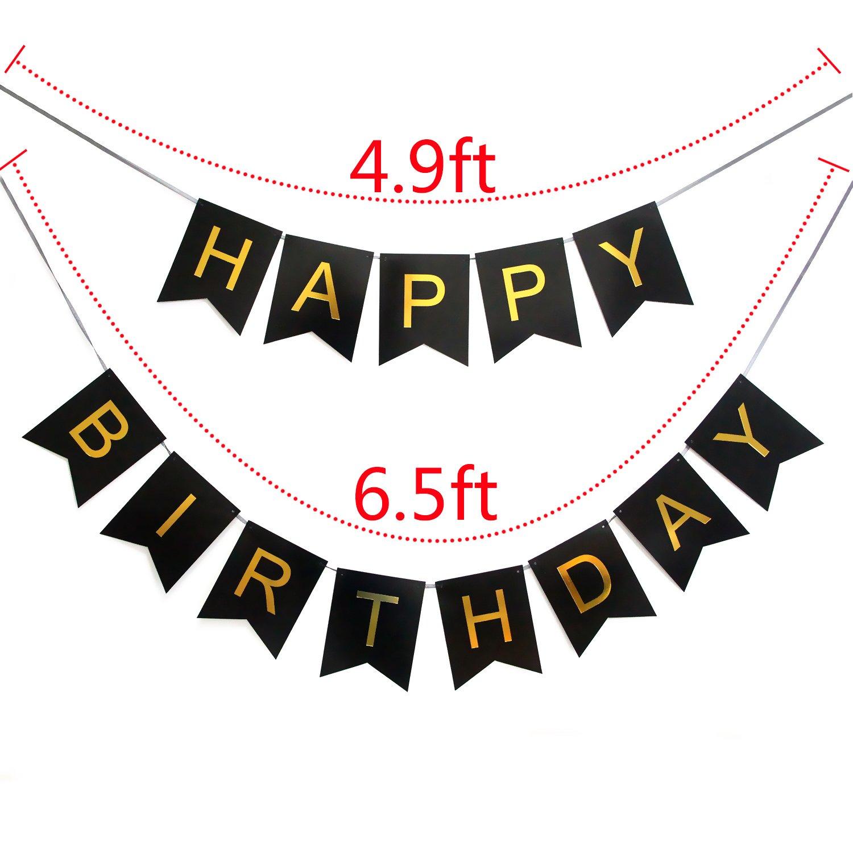 Amazon.com: LOVELY BITON Large Black Happy Birthday Wall Banner ...