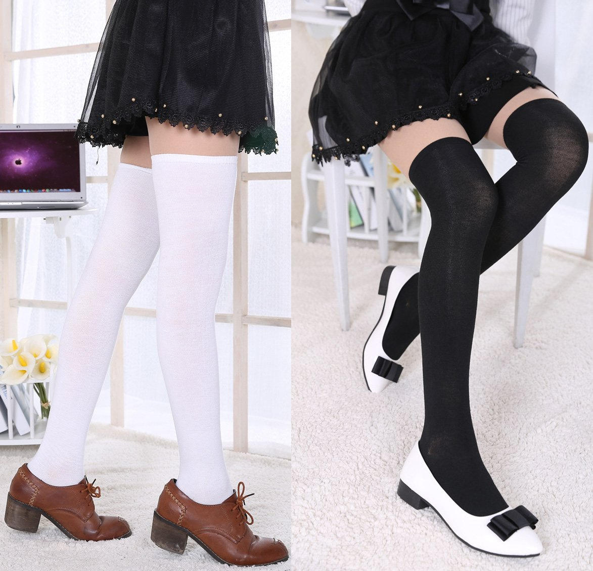 Chalier 3 Pairs Womens Long Socks Over Knee Stockings, White, Gray, Black, OS by Chalier (Image #3)