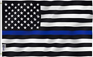 Anley Fly Breeze 4x6 Foot Thin Blue Line USA Flag - Vivid Color and UV Fade Resistant - Canvas Header and Double Stitched - Honoring Law Enforcement Officers Flags Polyester with Brass Grommets