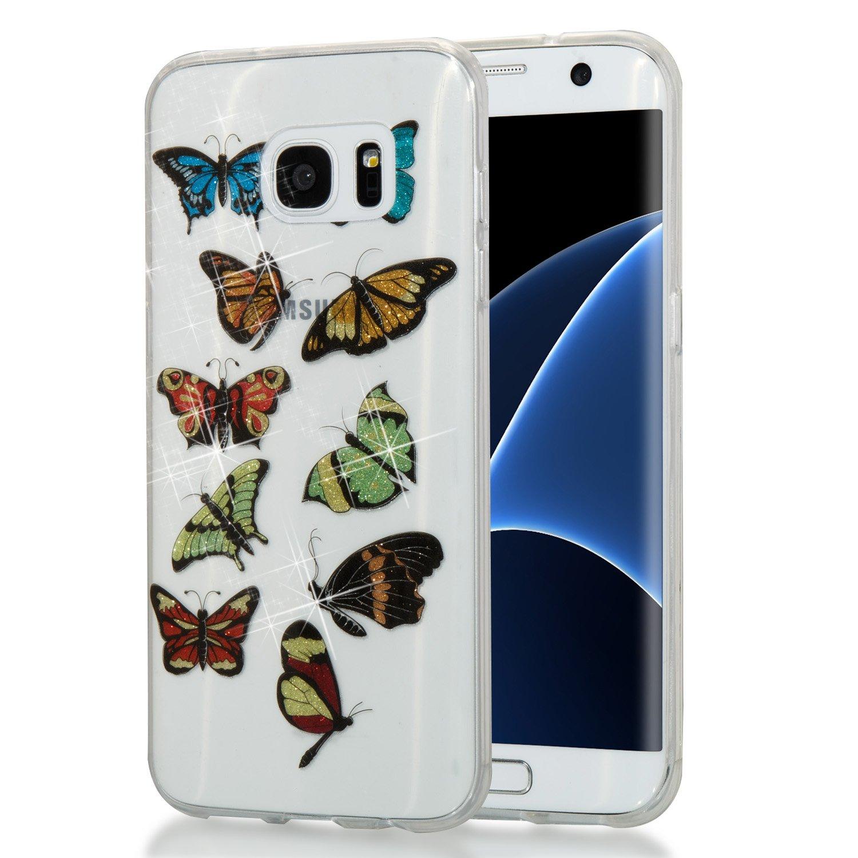 Alfort Samsung S7 Edge Funda Carcasa Samsung S7 Edge Transparente Case Cover con Polvo de Flash Carcasa Silicona TPU Suave Protectora Funda para Samsung Galaxy S7 Edge (Arco Iris y Unicornio) 1278555-ES
