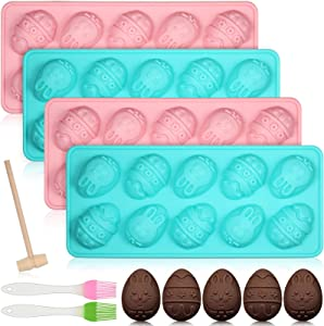 7 Pieces Easter Egg Rabbit Mold Set, 4 Pieces 10 Cavities Bunny Egg Chocolate Mold with 2 Silicone Basting Pastry Brushes and Wooden Hammer, Easter Baking Mold Tray for Chocolate Cake Candy