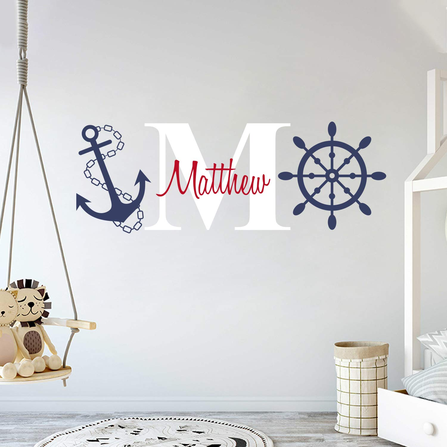 Custom Name & Initial Rudder & Anchor - Nautical Theme